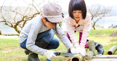 春キャンプ 竹細工